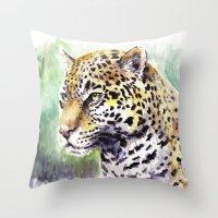 jaguar Throw Pillows featuring Jaguar by Juan Pablo Cortes