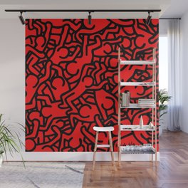 Red Pop Art (Signed by Harring) Wall Mural