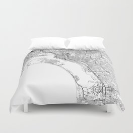 San Diego White Map Duvet Cover