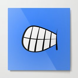 Angry Face Expression Cartoon Blue Emoji Metal Print