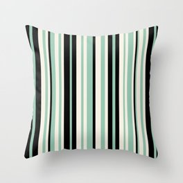 Vertical Stripes Pattern in Black, Mint Green, and Cream Throw Pillow