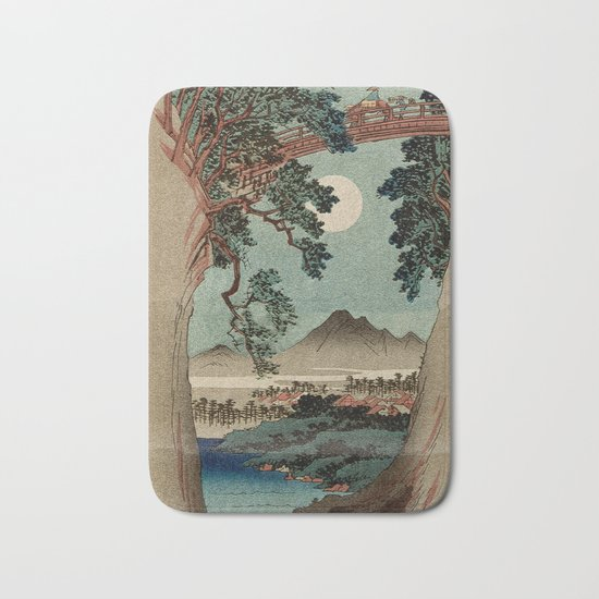 Saruhashi Bridge in Kai Province Japan Bath Mat