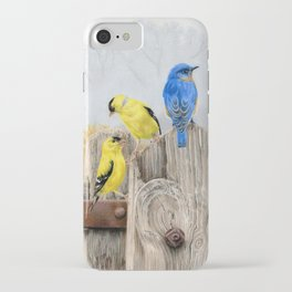 Misty Morning Meadow Cropped- Goldfinches and Bluebird iPhone Case