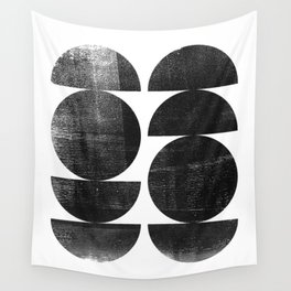 Black and White Mid Century Modern Circles Abstract Wall Tapestry