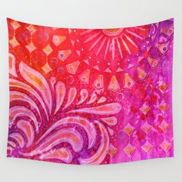 Joy in Orange and Purple Wall Tapestry