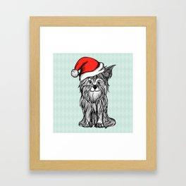 Christmas Dog In Santa Clause Hat Framed Art Print