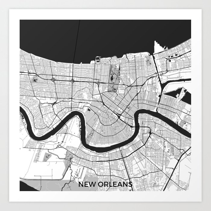 New Orleans Map Gray Art Print