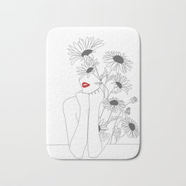 Minimal Line Art Girl with Sunflowers Bath Mat