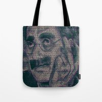 marx Tote Bags featuring Groucho Marx - Duck Soup Screenplay Print by Robotic Ewe