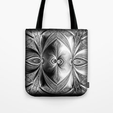 Abstract Peacock. Black+White. Tote Bag
