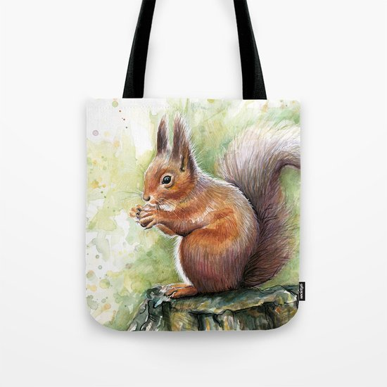 Squirrel and Nut Forest Animals Watercolor by olechka