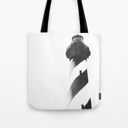Cape Hatteras Lighthouse on Outer Banks, NC.  B&W painting Tote Bag