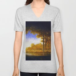 Autumn in the French Countryside, Fontainebleauu Forest landscape painting by Gilbert Munger Unisex V-Neck
