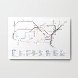 Amtrak as Subway Map 2016 - Sunset Limited Version Metal Print