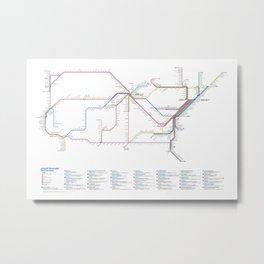 Amtrak as Subway Map 2016 - Sunset Limited Version Metal Print