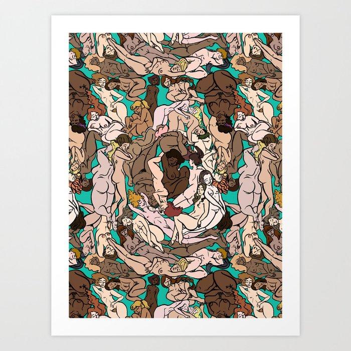 Naked Ladies Pattern Art Print