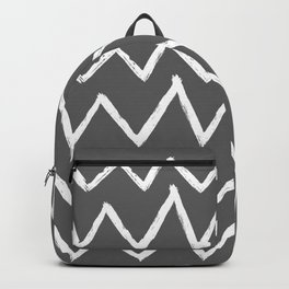 Hand-Drawn Zig Zag (White & Grey Pattern) Backpack