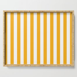 Beer Yellow and White Vertical Beach Hut Stripes Serving Tray