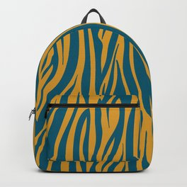 Teal and Gold Modern Zebra Print Pattern Backpack