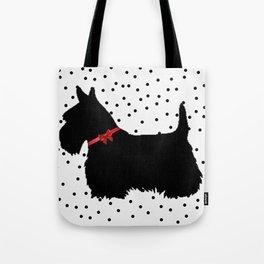 Christmas Scottie Dog Tote Bag