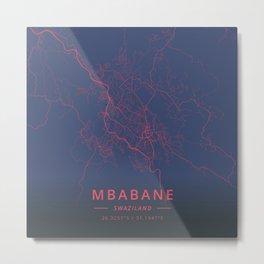 Mbabane, Swaziland - Neon Metal Print