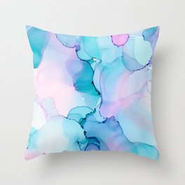 Alcohol Ink - Pastel Clouds Throw Pillow