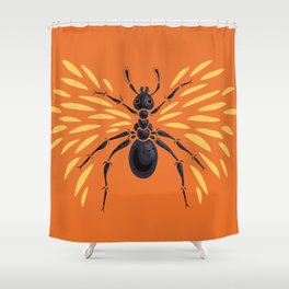 Winged Ant Fiery Orange Shower Curtain