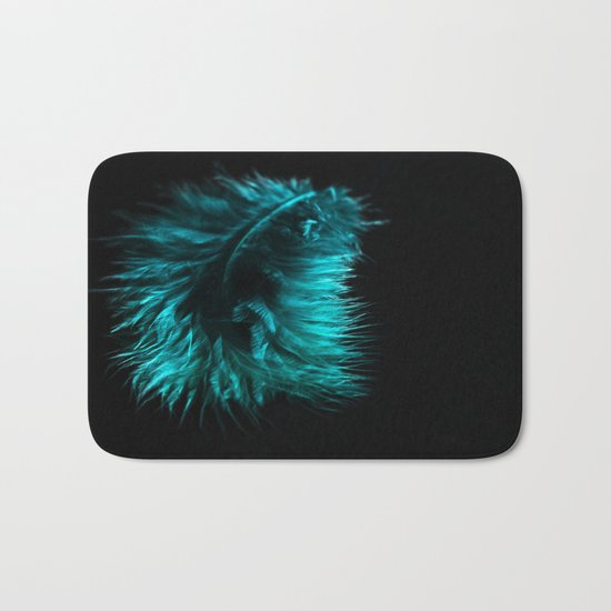 Feather in green-turquoise Bath Mat