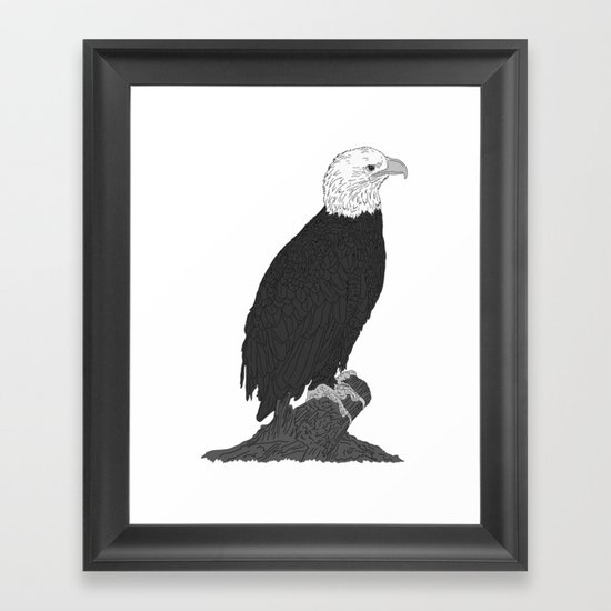 American Bald Eagle B/W Framed Art Print