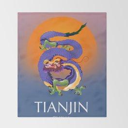 Tianjin China Dragon travel poster Throw Blanket