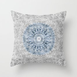 New Vintage Floral Mandala Ink Blue Throw Pillow