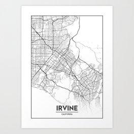 Minimal City Maps - Map Of Irvine, California, United States Art Print