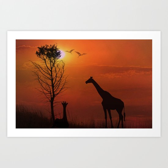 Sunset on the Plaines Art Print