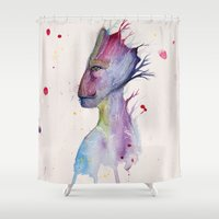 groot Shower Curtains featuring Groot by Kolbi Jane