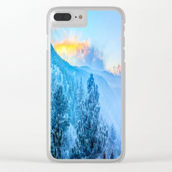 Snow Mountains Sunrise Clear iPhone Case