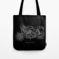 cafe racer Tote Bags featuring NORTON COMMANDO 961 CAFE RACER. 2011 by Larsson Stevensem