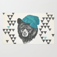 zissou Area & Throw Rugs featuring Zissou the bear in blue by Laura Graves