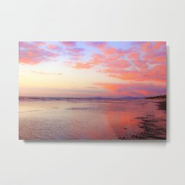 Looking Northwest on the Beach at Sunset by Reay of Light Metal Print