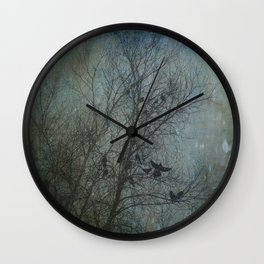 Blackbird Convention on a Snowy Day Wall Clock