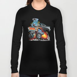 Classic hotrod 57 gasser drag racing muscle car cartoon Long Sleeve T-shirt