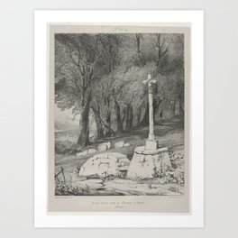 Eugene Isabey, (French, Paris 1803–1886 Lagny), Cross on the Route from Clermont to Royal Art Print