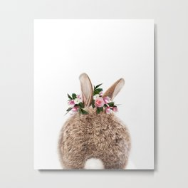 Bunny Tail, Baby Rabbit, Bunny With Flower Crown, Baby Animals Art Print By Synplus Metal Print
