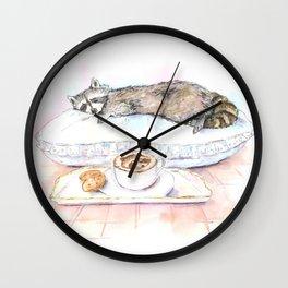 Sleeping Raccoon Wall Clock