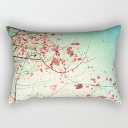 Even in Dreams, Atumn Fall, Textured Sky, Vintage Nature, Blue Pink Red  Rectangular Pillow