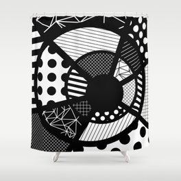 Twisted Web - Black And White, Patterned, Abstract Art Shower Curtain