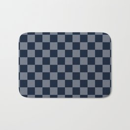 Navy Grey Checks Bath Mat