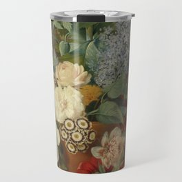 Albertus Jonas Brandt - Flowers in a terra cotta vase Travel Mug