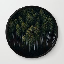 Aerial Photograph of a pine forest in Germany - Landscape Photography Wall Clock
