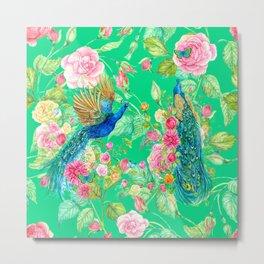 Peacock Flower Pattern Metal Print