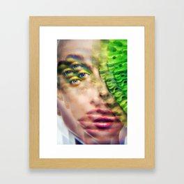 Green Infintium - Lush Vivid Multitudes of her Eyes and Face Framed Art Print